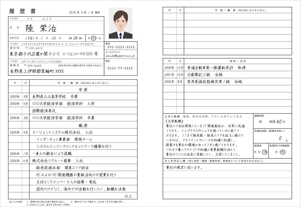 「JIS規格」履歴書の見本